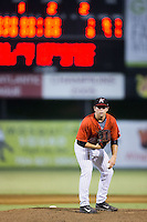 Kannapolis Intimidators relief pitcher Michael Horejsei (30) looks to his catcher for the sign against the Lakewood BlueClaws at Kannapolis Intimidators Stadium on August 11, 2016 in Kannapolis, North Carolina.  The Intimidators defeated the BlueClaws 3-1.  (Brian Westerholt/Four Seam Images)