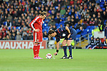 UEFA European Championship at Cardiff City Stadium - Wales v Cyprus : <br /> Gareth Bale of Wales watches referee Manuel Grafe put down the vanishing spray ahead of his free kick.