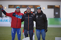 SPEED SKATING: COLLALBO: Arena Ritten, 11-01-2019, ISU European Speed Skating Championships, Victor Lobas (RUS), Kai Verbij (NED), Håvard Holmefjord Lorentzen (NOR), ©photo Martin de Jong