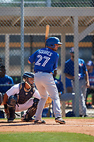 Toronto Blue Jays Troy Squires (27) during a Minor League Spring Training game against the Detroit Tigers on March 22, 2019 at the TigerTown Complex in Lakeland, Florida.  (Mike Janes/Four Seam Images)