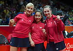 Wales Charlotte Carey, Wales Anna Hursey and Wales Chloe Thomas.<br /> <br /> *This image must be credited to Ian Cook Sportingwales and can only be used in conjunction with this event only*<br /> <br /> 21st Commonwealth Games - Table tennis -  Day 2 - 06\04\2018 - Oxenford - Gold Coast City - Australia