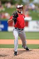 Washington Nationals pitcher Matt Thornton (46) during a Spring Training game against the Detroit Tigers on March 22, 2015 at Joker Marchant Stadium in Lakeland, Florida.  The game ended in a 7-7 tie.  (Mike Janes/Four Seam Images)