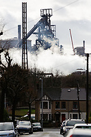 Pictured: The blast furnaces of the steel works as seen over nearby roof tops in Port Talbot, Wales, UK. Monday 29 January 2018<br /> Re: Some of the Port Talbot steel workers' pensions are under threat after being persuaded to change providers.