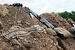German MG42 belt fed machine gun often incorrectly called the Spandau also nicknamed Hitlers Buzz saw<br /> Spam Wartime Weekend Heckmondwike<br /> 10th July 2011<br /> Images <br /> © Paul David Drabble