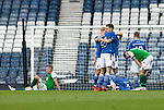 St Johnstone v Hibs…22.05.21  Scottish Cup Final Hampden Park<br />Jason Kerr, Callum Booth and Ali McCann celebrate at full time<br />Picture by Graeme Hart.<br />Copyright Perthshire Picture Agency<br />Tel: 01738 623350  Mobile: 07990 594431