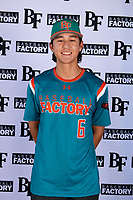Kyle Kuramoto (6) of Cardinal Gibbons High School in Ft. Lauderdale, Florida during the Baseball Factory All-America Pre-Season Tournament, powered by Under Armour, on January 12, 2018 at Sloan Park Complex in Mesa, Arizona.  (Mike Janes/Four Seam Images)