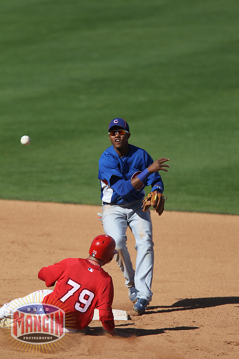 TEMPE - MARCH 14:  Starlin Castro of the Chicago Cubs turns a double play at second base during a spring training game against the Los Angeles Angels of Anaheim on March 14, 2010 at Tempe Diablo Stadium in Tempe, Arizona. (Photo by Brad Mangin)