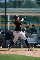 Pittsburgh Pirates first baseman Will Craig (49) follows through on a swing during a Florida Instructional League game against the Detroit Tigers on October 2, 2018 at the Pirate City in Bradenton, Florida.  (Mike Janes/Four Seam Images)