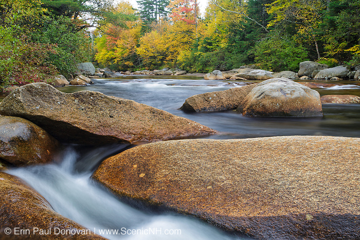 Just above the Lower Ammonoosuc Falls  on the Ammonoosuc River in Carroll, New Hampshire USA during autumn months.