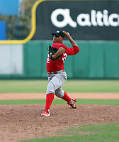 Starlyn Castillo participates in the MLB Showcase at the Estadio Quisqeye Juan Marichal on February 21-22, 2018 in Santo Domingo, Dominican Republic.