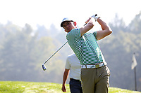 SAPPHIRE, NC - OCTOBER 01: J.T. Barker of Florida Gulf Coast University tees off at The Country Club of Sapphire Valley on October 01, 2019 in Sapphire, North Carolina.