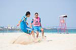 (L-R) Shusei Yamauchi, Shinji Makino (JPN),<br /> APRIL 20, 2014 - Beach Soccer :<br /> Beach Soccer Japan national team candidates training camp in Okinawa, Japan. (Photo by Wataru Kohayakawa/AFLO)