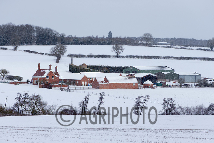 9-2-2021 Farmstead in Rutland cover in snow <br /> ©Tim Scrivener Photographer 07850 303986<br />      ....Covering Agriculture In The UK....