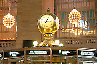 Old round clock on information booth of the Grand Central Terminal in Manhattan, New York City