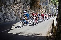 breakaway group rolling through the spectacular Gorges de l'Ardèche <br /> <br /> Stage 12 from Saint-Paul-Trois-Châteaux to Nîmes (159.4km),<br /> 108th Tour de France 2021 (2.UWT)<br /> <br /> ©kramon