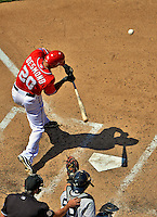 16 June 2012: Washington Nationals shortstop Ian Desmond in action against the New York Yankees at Nationals Park in Washington, DC. The Yankees defeated the Nationals in 14 innings by a score of 5-3, taking the second game of their 3-game series. Mandatory Credit: Ed Wolfstein Photo