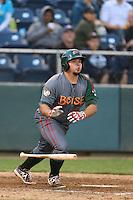 Danny Canela #40 of the Boise Hawks bats against the Everett AquaSox at Everett Memorial Stadium on July 22, 2014 in Everett, Washington. Everett defeated Boise, 6-0. (Larry Goren/Four Seam Images)