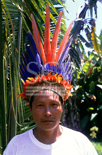 Tataquara, Brazil. Yaimo (=Eagle) (Francisco) Waiwai in feather headdress.