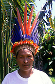Tataquara, Brazil. Yaimo (=Eagle) (Francisco) Waiwai in feather headdress.