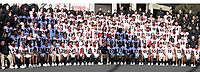 Pasadena, CA - December 31, 2017: The number 2 ranked University of Oklahoma Sooners face the number 3 ranked University of Georgia Bulldogs in the National Playoff Semifinal at the Rose Bowl.  Team photos.