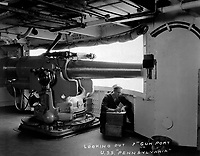 "Looking out 7"" gun port, U.S.S. Pennsylvania.  Ca.  1918.  Navy Bureau of Construction & Repair.  (War Dept.)<br /> Exact Date Shot Unknown<br /> NARA FILE #:  165-WW-321C-3<br /> WAR & CONFLICT BOOK #:  480"