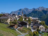 Blick auf Guarda, Scuol, Unterengadin, Graubünden, Schweiz, Europa<br /> Panorama of Guarda, Scuol, Engadine, Grisons, Switzerland