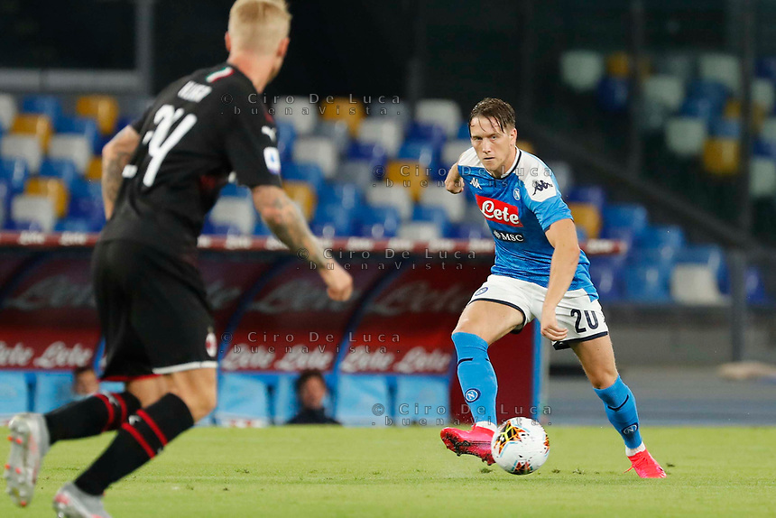 \0\ during the  italian serie a soccer match,  SSC Napoli - AC Milan       at  the San  Paolo   stadium in Naples  Italy , July 12, 2020