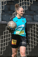 Goalkeeper Silke Baccarne (1) of Eendracht Aalst pictured during a female soccer game between Eendracht Aalst and SV Zulte Waregem on the fourth matchday of play off 2 of the 2020 - 2021 season of Belgian Scooore Womens Super League , Saturday 1 st of May 2021  in Aalst , Belgium . PHOTO SPORTPIX.BE | SPP | DIRK VUYLSTEKE