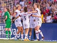 PASADENA, CA - AUGUST 4: Lindsey Horan #9, Kelley O'Hara #5, Tobin Heath #17 and Sam Mewis #3 celebrate during a game between Ireland and USWNT at Rose Bowl on August 3, 2019 in Pasadena, California.