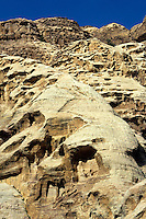 Ancient Troglodytae house cut into a rock face, Petra, Jordan.