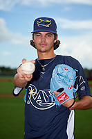GCL Rays pitcher JJ Goss (10) poses for a photo before a Gulf Coast League game against the GCL Pirates on August 7, 2019 at Charlotte Sports Park in Port Charlotte, Florida.  GCL Rays defeated the GCL Pirates 5-3 in the second game of a doubleheader.  (Mike Janes/Four Seam Images)