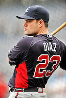 24 September 2011: Atlanta Braves outfielder Matt Diaz awaits his turn in the batting cage prior to a game against the Washington Nationals at Nationals Park in Washington, DC. The Nationals defeated the Braves 4-1 to even up their 3-game series. Mandatory Credit: Ed Wolfstein Photo