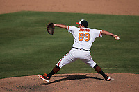 Baltimore Orioles pitcher Mickey Jannis (89) during a Major League Spring Training game against the Philadelphia Phillies on March 12, 2021 at the Ed Smith Stadium in Sarasota, Florida.  (Mike Janes/Four Seam Images)