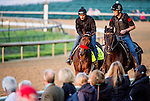 LOUISVILLE, KY - MAY 04: Nyquist, ridden by exercise rider Jonny Garcia, trained by Doug O'Neill and owned by Reddam Racing LLC, exercises and prepares during morning workouts for the Kentucky Derby and Kentucky Oaks at Churchill Downs on May 4, 2016 in Louisville, Kentucky. (Photo by John Voorhees/Eclipse Sportswire/Getty Images)