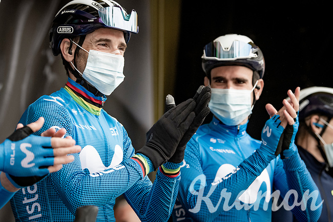 "A ""happy birthday"" for Alejandro Valverde (ESP/Movistar) who turned 41 (!) today at the race start in LIège<br /> <br /> 107th Liège-Bastogne-Liège 2021 (1.UWT)<br /> 1 day race from Liège to Liège (259km)<br /> <br /> ©kramon"