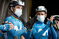 "A ""happy birthday"" for Alejandro Valverde (ESP/Movistar) who turned 41 (!) today at the race start in LIège<br /> <br /> 107th Liège-Bastogne-Liège 2021 (1.UWT)<br /> 1 day race from Liège to Liège (259km)<br /> <br /> ©kramon"