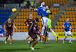 St Johnstone v Motherwell…15.12.18…   McDiarmid Park    SPFL<br />Mark Gillespie punches clear from Tony Watt<br />Picture by Graeme Hart. <br />Copyright Perthshire Picture Agency<br />Tel: 01738 623350  Mobile: 07990 594431