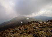 Mount Jefferson surrounded by storm clouds from along the Appalachian Trail (Gulfside Trail) in the White Mountains, New Hampshire.