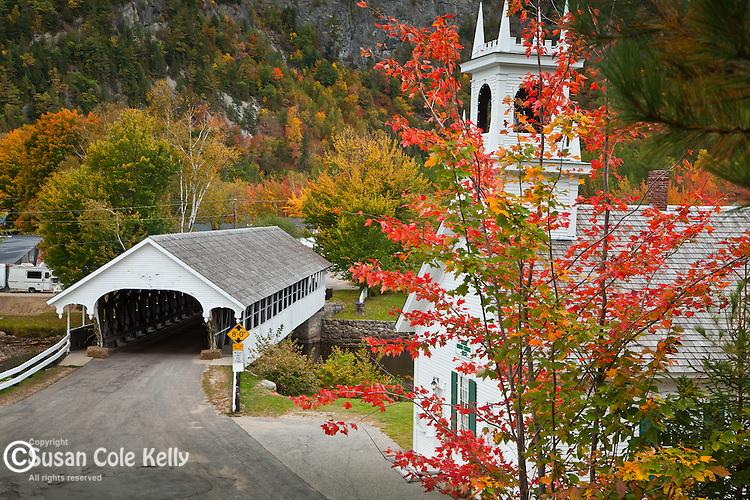 Fall foliage at the Stark Covered Bridge in Stark, NH, USA