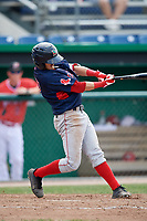 Lowell Spinners center fielder Dylan Hardy (17) at bat during a game against the Batavia Muckdogs on July 15, 2018 at Dwyer Stadium in Batavia, New York.  Lowell defeated Batavia 6-2.  (Mike Janes/Four Seam Images)