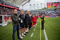 CARSON, CA - FEBRUARY 9: Kenneth Heiner-moller head coach of  Canada and his team lined up for the national anthem during a game between Canada and USWNT at Dignity Health Sports Park on February 9, 2020 in Carson, California.