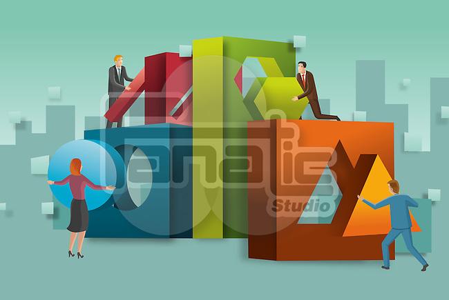 Illustrative concept of business people putting together blocks representing teamwork