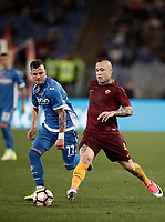 Calcio, Serie A: Roma, stadio Olimpico, 1 aprile, 2017.<br /> Roma's Radja Nainggolan (r) in action with Empoli's Marcel Buchel during the Italian Serie A football match between Roma and Empoli at Olimpico stadium, April 1, 2017<br /> UPDATE IMAGES PRESS/Isabella Bonotto