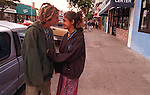 """""""Jazzy"""" after running away from home (Sacramento) Jazimen Hernandez (15) returns to Haight Street with a boy friend after being missing from a month."""