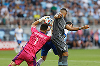 SAINT PAUL, MN - JULY 3: JT Marcinkowski #1 of the San Jose Earthquakes battles for the save with Ramon Abila #9 of Minnesota United FC during a game between San Jose Earthquakes and Minnesota United FC at Allianz Field on July 3, 2021 in Saint Paul, Minnesota.