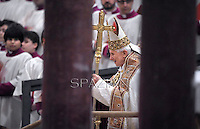 Pope Benedict XVI leads Vespers on the Feast of the Conversion of the Apostle Paul on January 25, 2013 at the Saint Paul outside the walls basilica in Rome. .