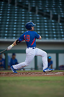 AZL Cubs left fielder Grant Fennell (19) follows through on his swing during an Arizona League game against the AZL Brewers at Sloan Park on June 29, 2018 in Mesa, Arizona. The AZL Cubs 1 defeated the AZL Brewers 7-1. (Zachary Lucy/Four Seam Images)