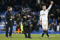 Gylfi Sigurdsson gives fans the thumbs up as he  celebrates victory at the final whistle of  the Barclays Premier League match between Everton and Swansea City played at Goodison Park, Liverpool