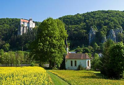 DEU, Deutschland, Bayern, Niederbayern, Naturpark Altmuehltal, bei Riedenburg: Burg Prunn auf einem steil abfallenden Kalkfelsen oberhalb der Altmuehl | DEU, Germany, Bavaria, Lower Bavaria, Natural Park Altmuehltal, near Riedenburg: Castle Prunn above river Altmuehl