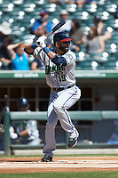 Jose Bautista (19) of the Gwinnett Stripers at bat against the Charlotte Knights at BB&T BallPark on May 2, 2018 in Charlotte, North Carolina.  The Knights defeated the Stripers 6-5.  (Brian Westerholt/Four Seam Images)